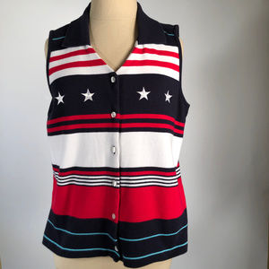 Patriotic Red White Blue Sleeveless Knit Top